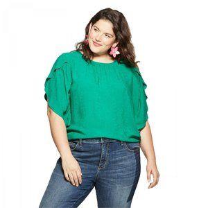 NWT Ava & Viv Paisley Flutter Blouse 2X Green